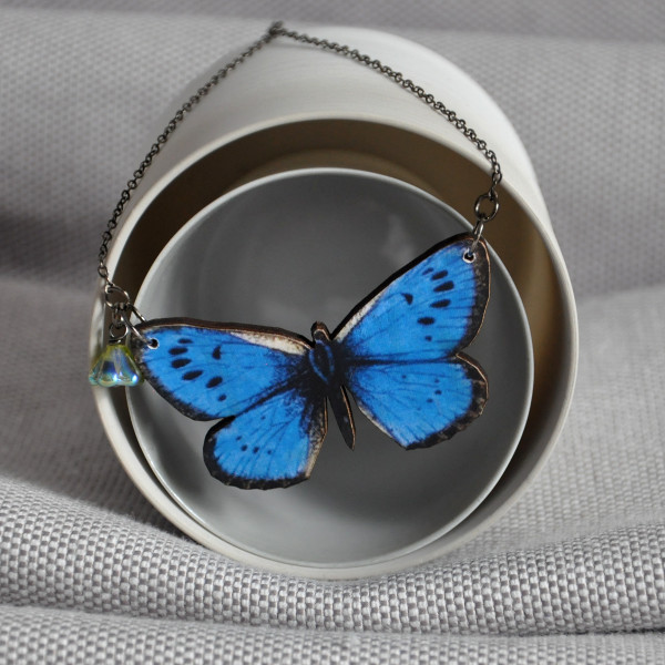 cabochon for women her in jewelry locket blue silver gifts insect gem vintage pendant tafree glass necklace charm butterfly necklaces item from photo picture