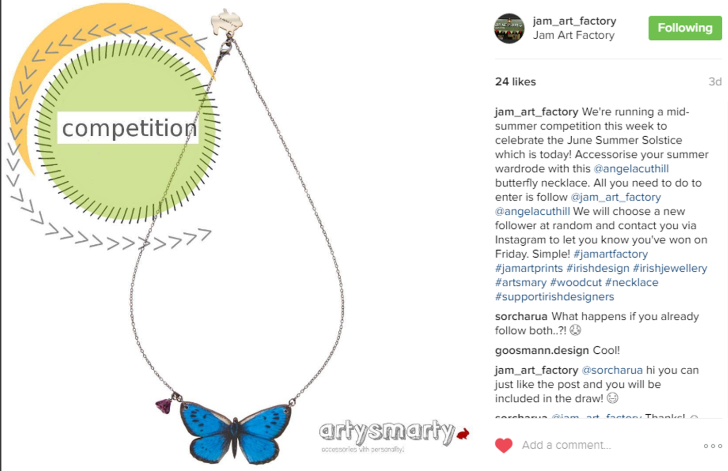butterfly giveaway instagram