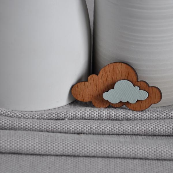 Cloud Origami Wooden Brooch
